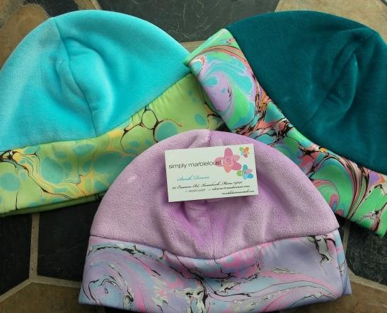 Three velour stretch silk caps